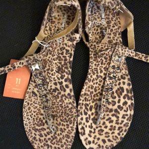 Women's 11 leopard cheetah print studded sandals